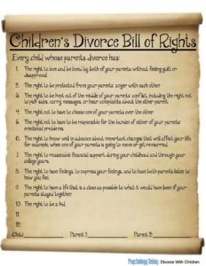 kids divorce bill of rights